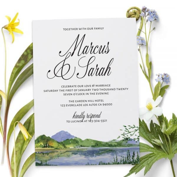Wedding Reception Invitation Cards, Lake, Mountains Casual Party, BBQ Invitation Cards
