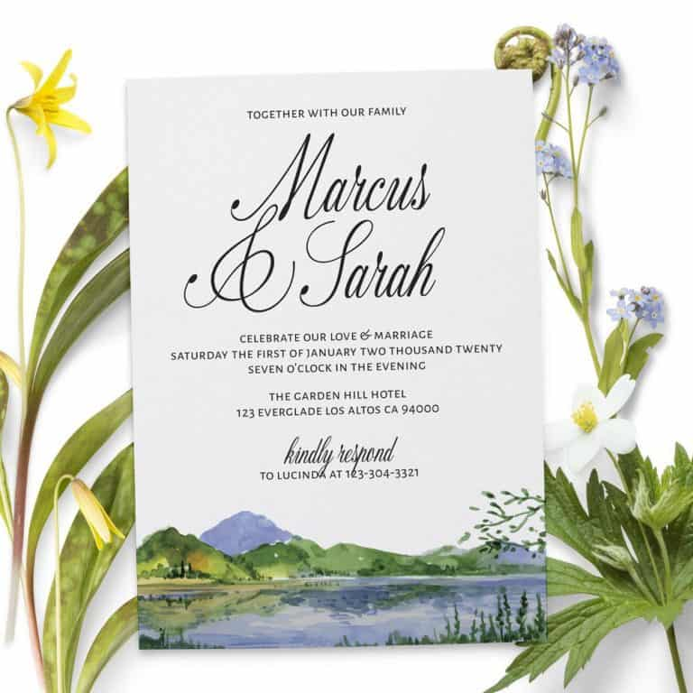 Wedding Reception Invitation Cards, Lake, Mountains Casual Party, BBQ Invitation Cards elopement171