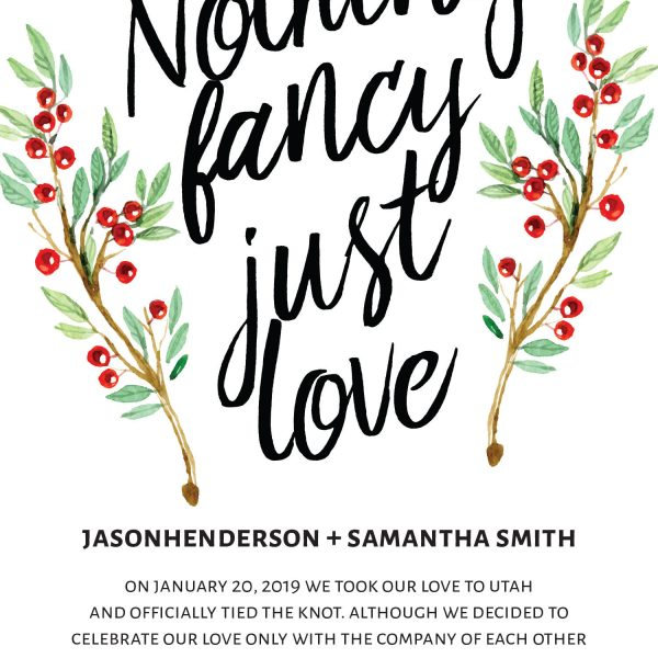 Nothing Fancy Just Love Elopement Announcement Cards, Christmas, Holiday Wedding Elopement Card, Announcement Cards