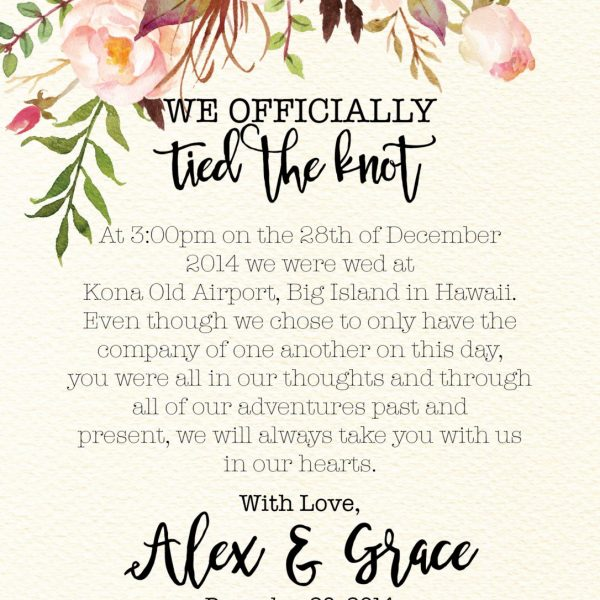 We Officially Tied The Knot Elopement Announcement Cards, Elopement Cards