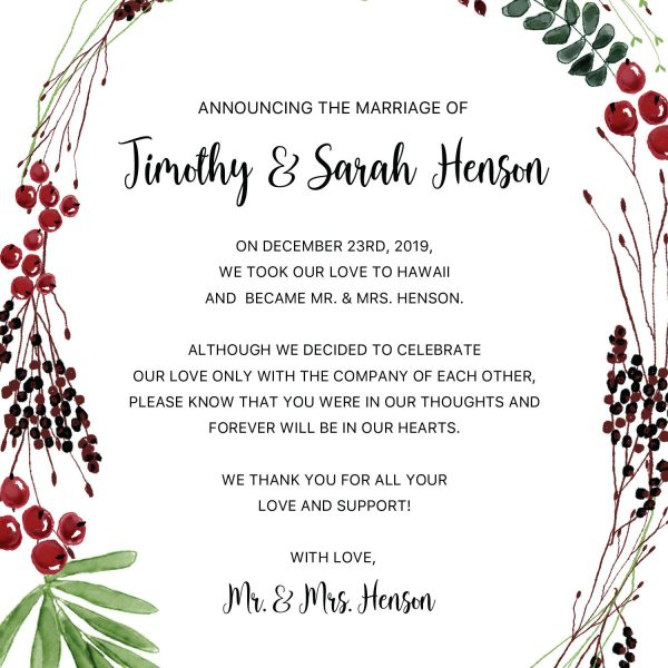 Holiday Christmas Elopement Announcement Cards, Christmas, Holiday Wreath Wedding Elopement Card, Announcement Cards