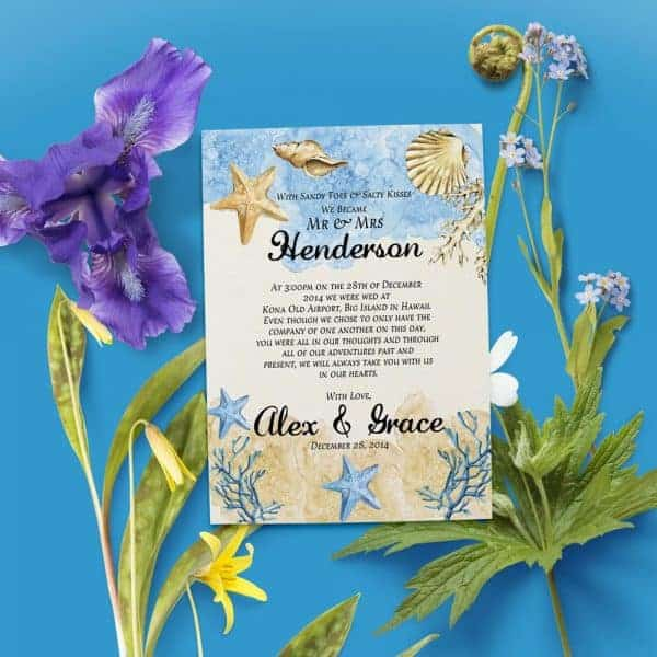 With Sandy Toes & Salty Kisses Elopement Announcement Cards