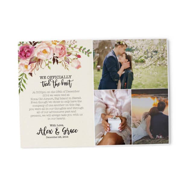 """Elopement Announcement """"Tied The Knot"""", Post Wedding Announcement, Printed and Printable Elopement Announcement Cards elopement192"""