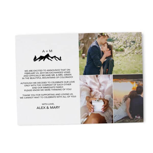We've Exchanged Vows , Flat Elopement Announcement Cards with Photos, Personalized Post-Wedding Notice, Marriage Announcement Cards Elopement195