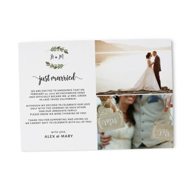 Just Married, Flat Elopement Announcement Cards with Photos, Personalized Post-Wedding Notice, Marriage Announcement Cards elopement196