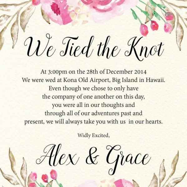 We Tied the Knot Elopement Announcement Cards, Simple and Beautiful Elopement Cards