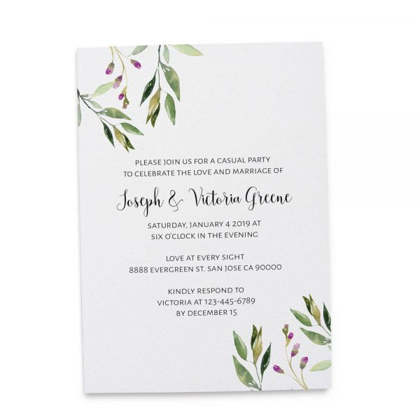 Elopement Reception Invitation Cards, Wedding Reception Invitations, Floral Simple and Minimalistic Invitation Card