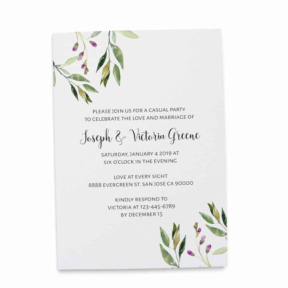Elopement Reception Invitation Cards, Wedding Reception Invitations, Floral Simple and Minimalistic Invitation Card elopement211