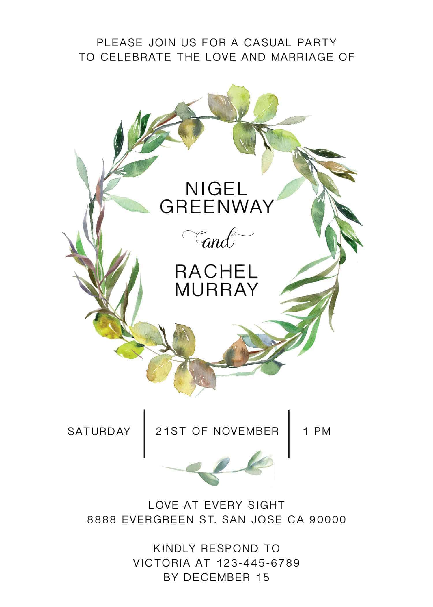 Elopement Reception Invitation Cards, Wedding Reception Invitations, Greenery Simple and Minimalistic Invitation Card