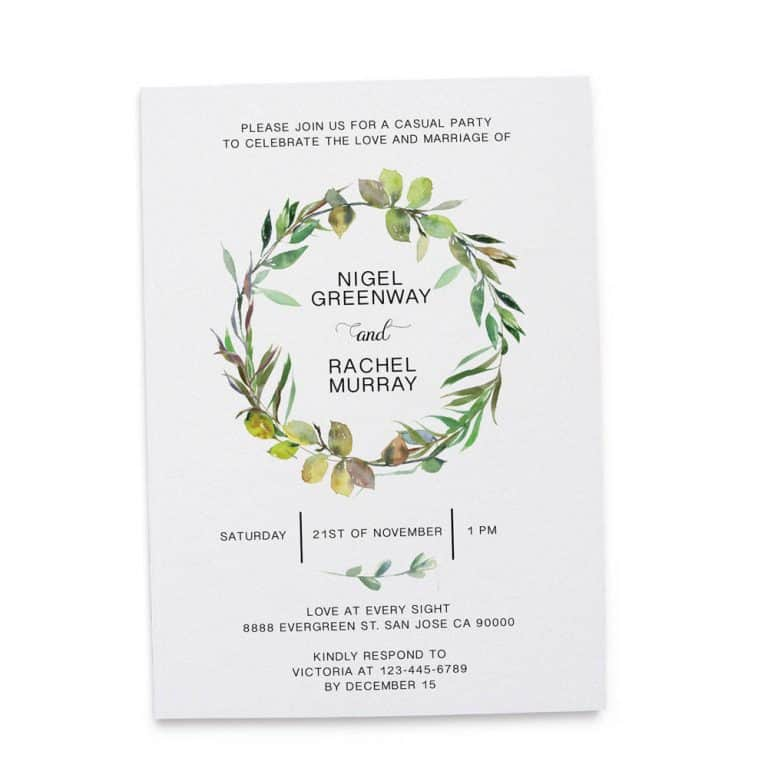 Elopement Reception Invitation Cards, Wedding Reception Invitations, Greenery Simple and Minimalistic Invitation Card elopement212