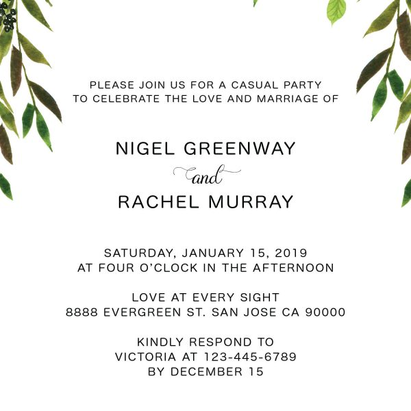 Elopement Reception Invitation Cards, Wedding Reception Invitations, Greenery Simple and Minimalistic Invitation Card