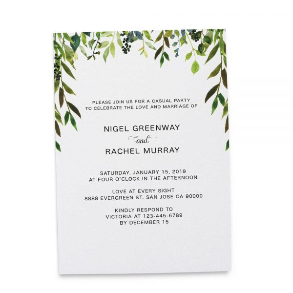 Elopement Reception Invitation Cards, Wedding Reception Invitations, Greenery Simple and Minimalistic Invitation Card elopement213