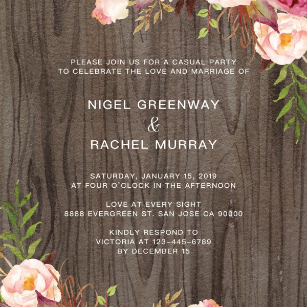 Rustic Elopement Reception Invitation Cards, Wedding Reception Invitations, Rustic Invitation Card