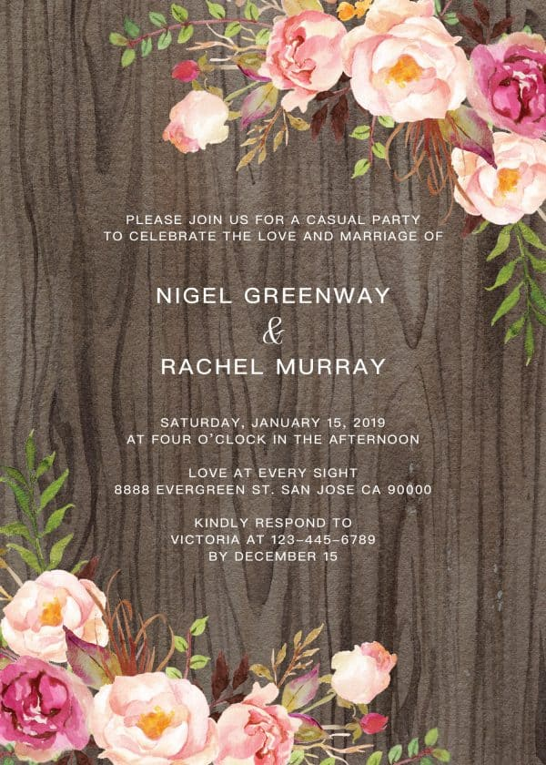 Rustic Elopement Reception Invitation Cards, Wedding Reception Invitations, Rustic Invitation Card
