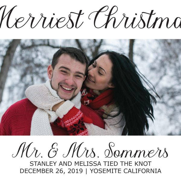 Merriest Christmas Elopement Announcement Cards, Christmas, Holiday Wedding Elopement Card, Announcement Cards
