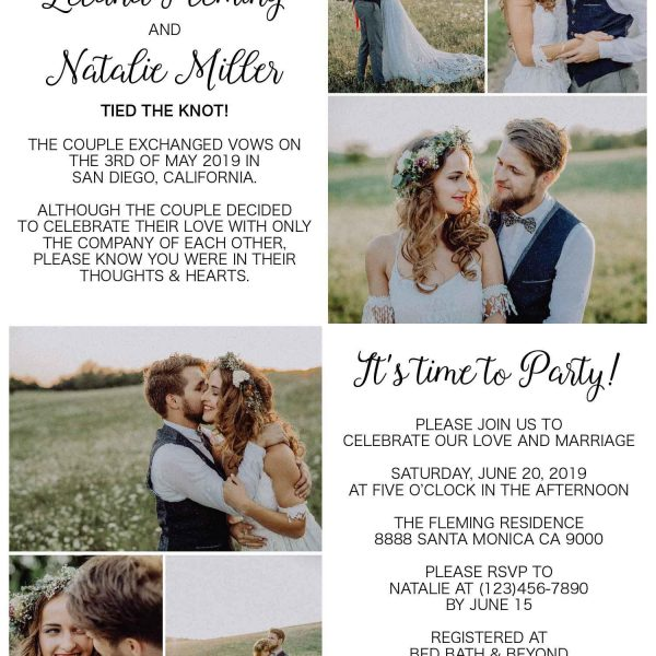 Simple Elopement Announcement Cards, Add your own photos Wedding Announcement Cards, Printed and Printable Elopement Announcement Cards