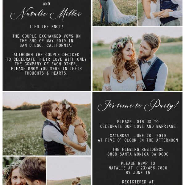 Rustic Elopement Announcement Cards, Add your own photos Wedding Announcement Cards, Printed and Printable Elopement Announcement Cards