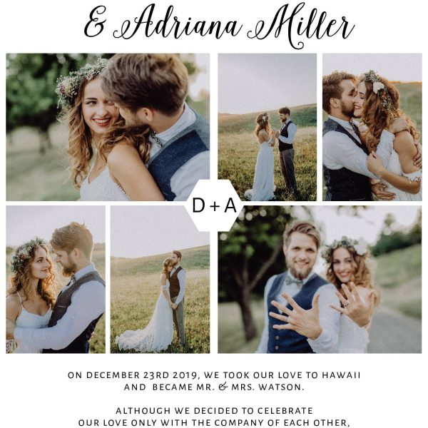 Wedding Announcement, Photo Elopement Announcement Cards, Wedding Elopement Card, Marriage Announcement Cards