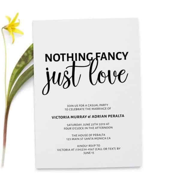 Nothing Fancy Just Love, Simple Elopement Invitation Cards, Light Wedding Elopement Card, Marriage Announcement Cards