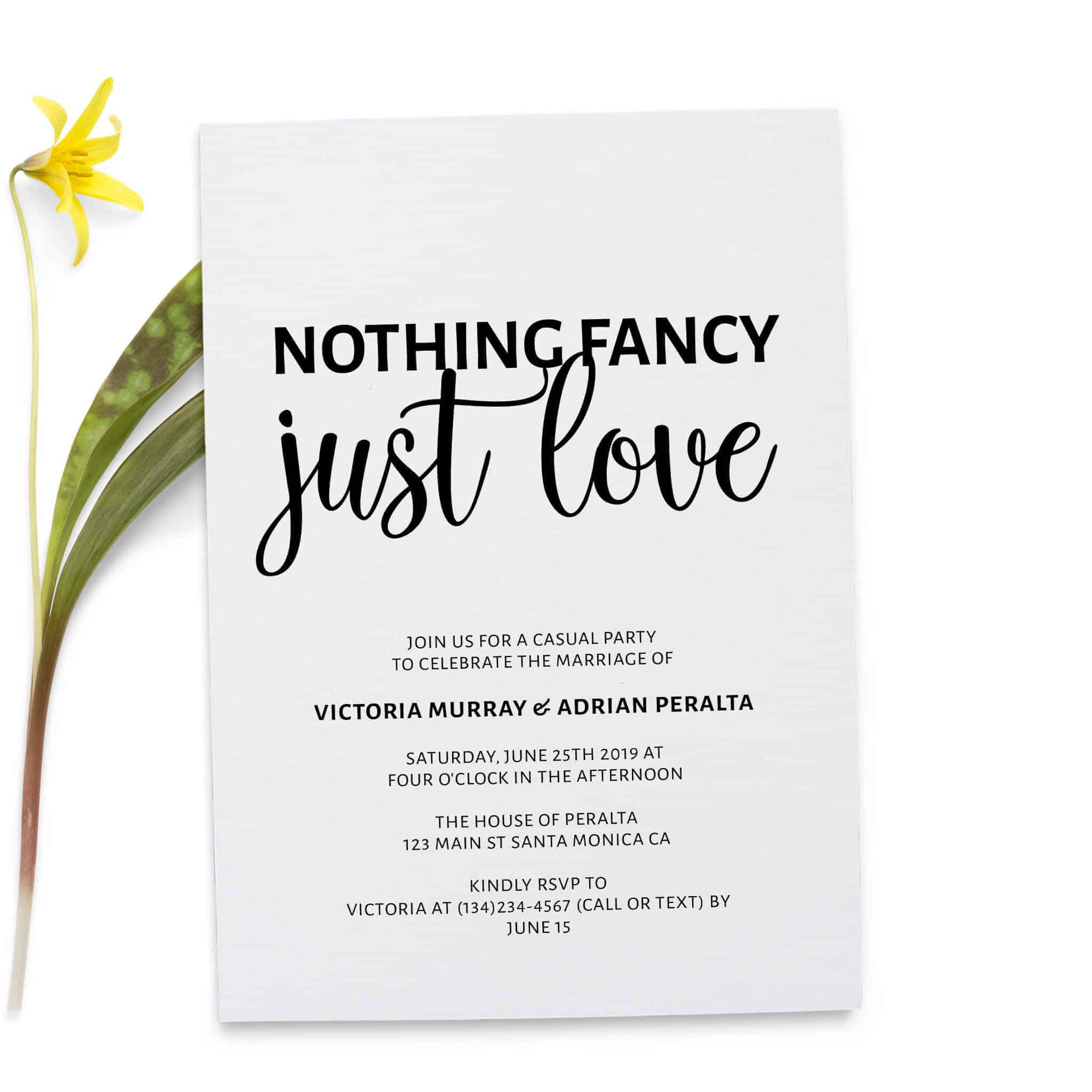 Nothing Fancy Just Love, Simple Elopement Invitation Cards, Light Wedding Elopement Card, Marriage Announcement Cards elopement244