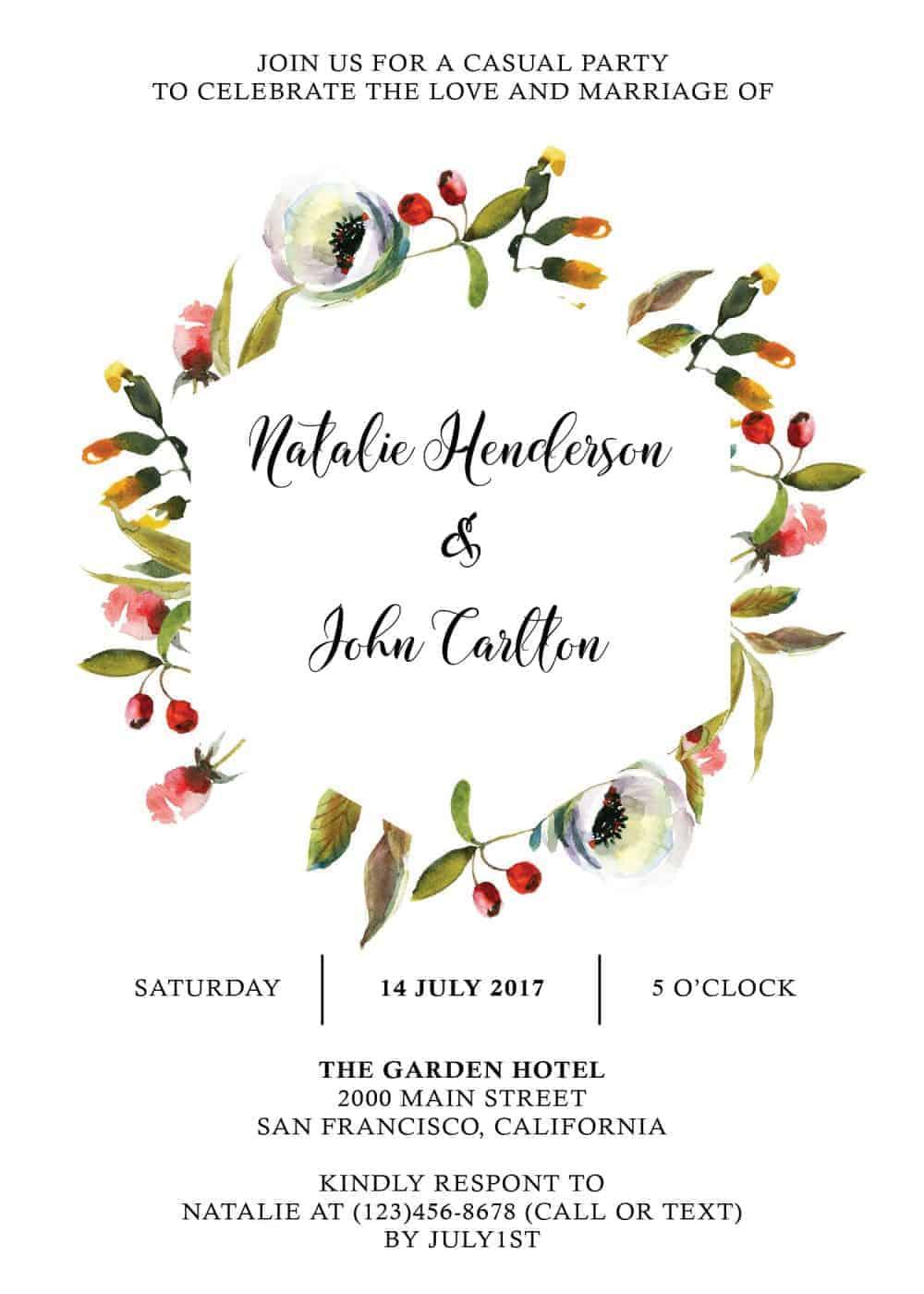 Floral Garland , Simple Elopement Invitation Cards, Light Wedding Elopement Card, Marriage Announcement Cards elopement245
