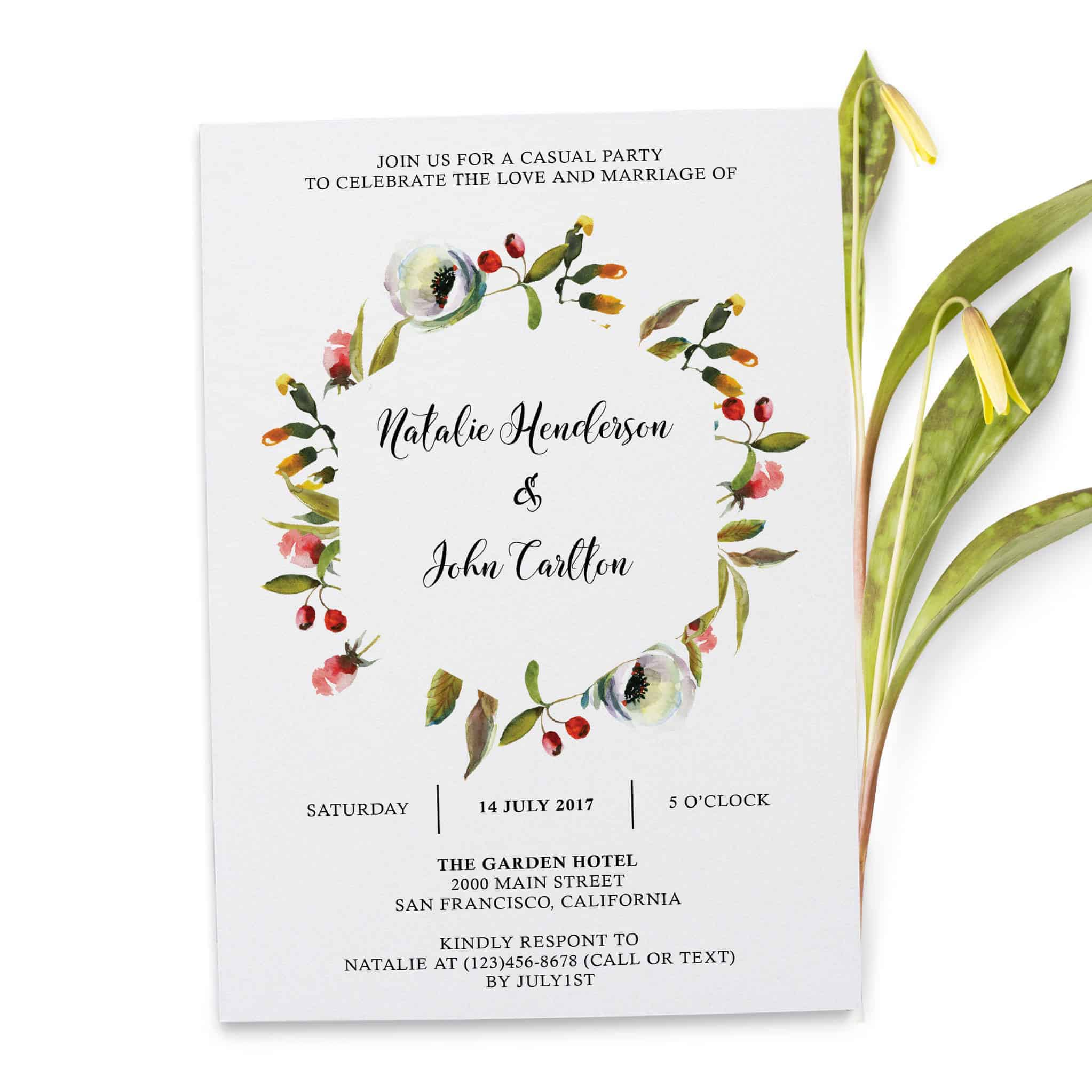 Floral Garland , Simple Elopement Invitation Cards, Light Wedding Elopement Card, Marriage Announcement Cards