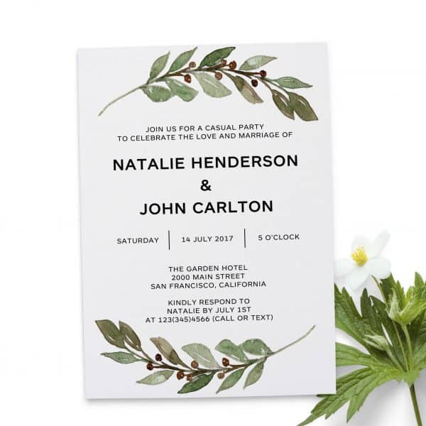 Green Twig, Simple Wedding Reception Cards, Light Wedding Elopement Card, Marriage Announcement Cards