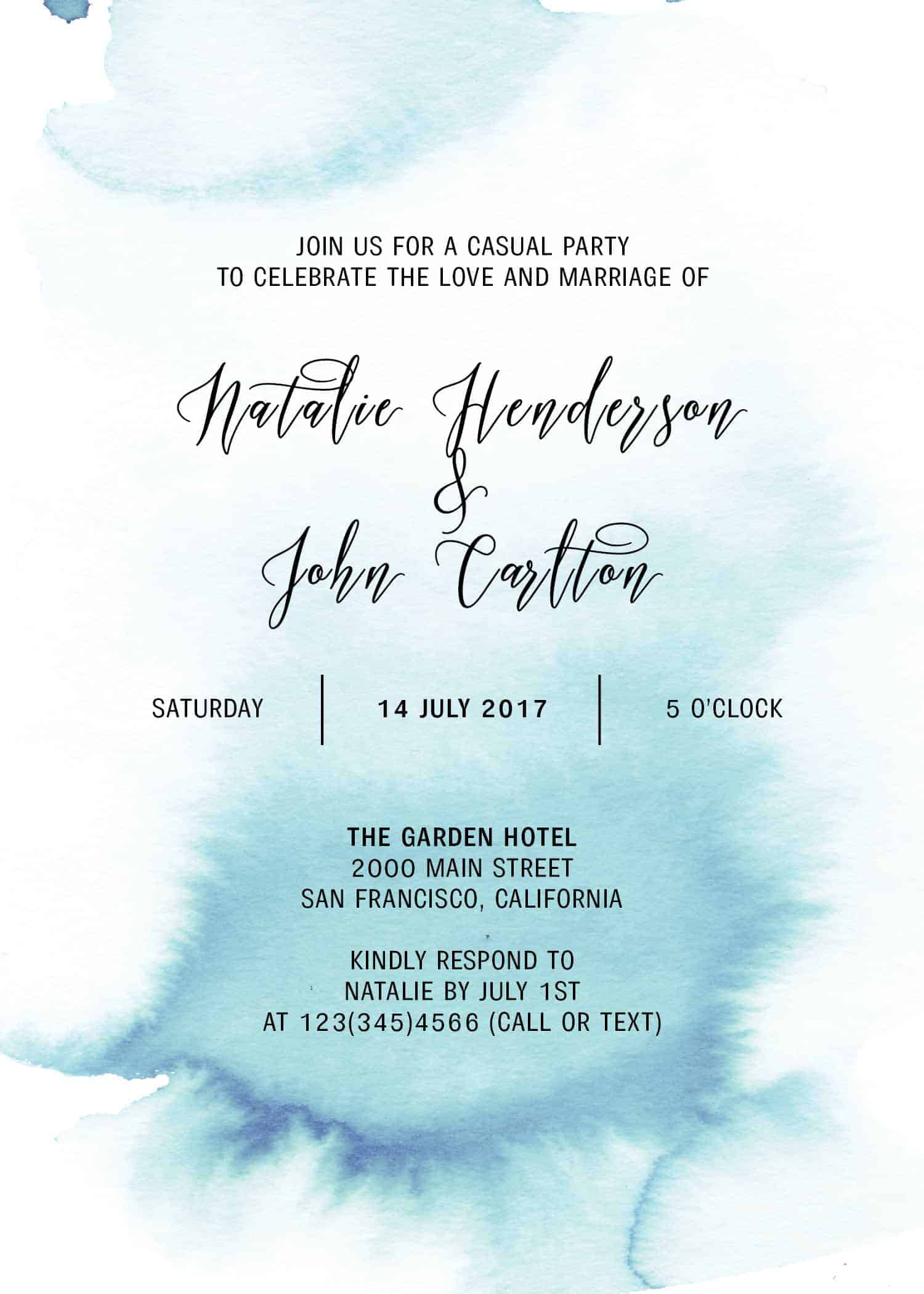 Elopement Reception Party Invitations, Casual Wedding Reception Cards, Printed Printable Wedding Party Card, Blue Watercolor Fog #247