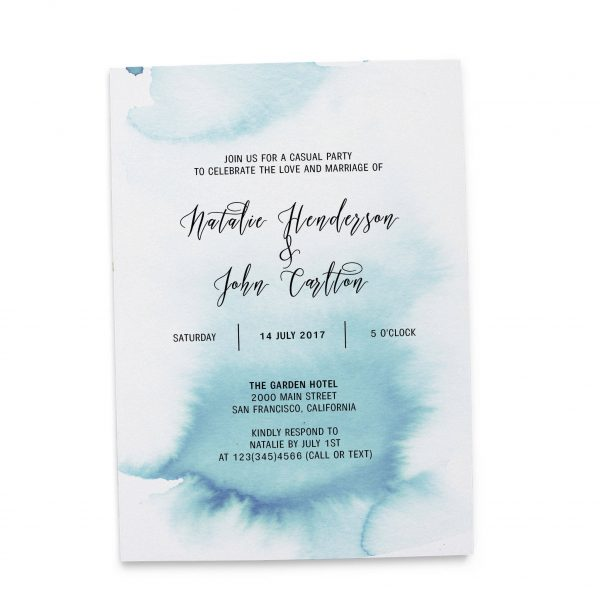 Elopement Reception Party Invitations, Casual Wedding Reception Cards, Printed Printable Wedding Party Card, Blue Watercolor Fog #247 elopement247