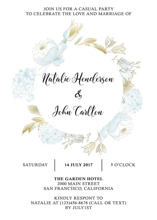 Elopement Reception Party Invitations, Casual Wedding Reception Cards, Printed Printable Wedding Party Card, Gentle Floral Design elopement248