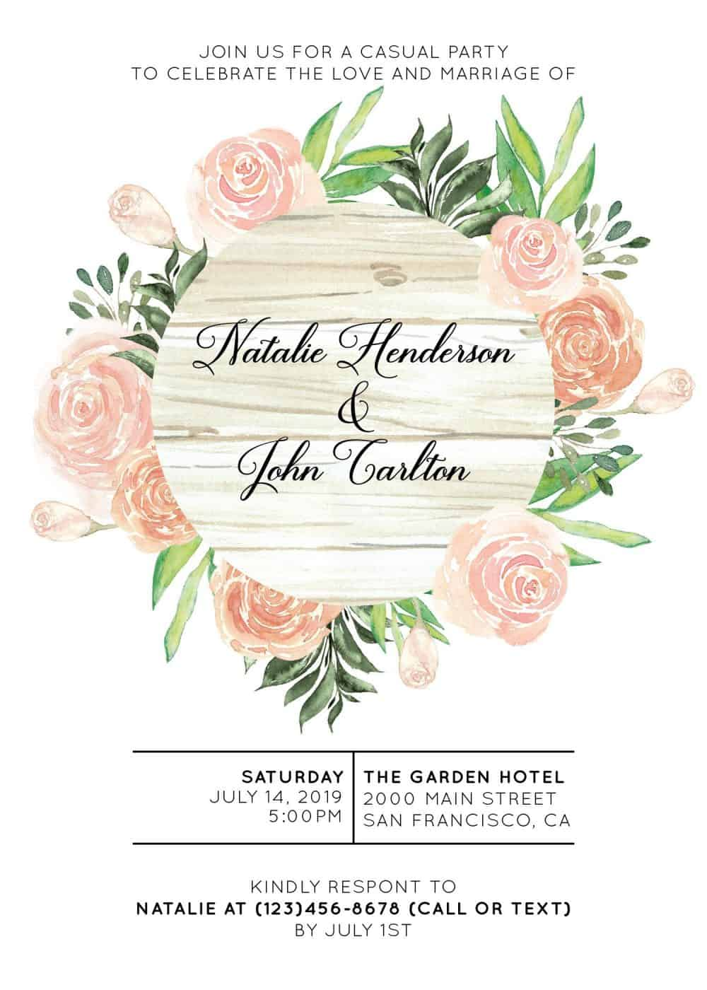 Elopement Reception Party Invitations, Casual Wedding Reception Cards, Printed Printable Wedding Party Card, Gentle Floral Design elopement249