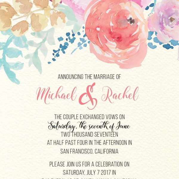 Elopement Announcement Cards, Vintage and Floral Elopement Cards