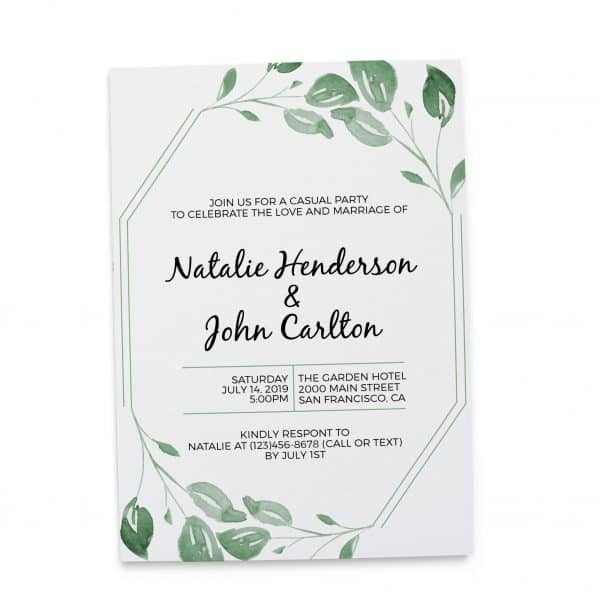 Elopement Reception Party Invitations, Casual Wedding Reception Cards, Printed Printable Wedding Party Card, Fresh Green Leaves elopement250