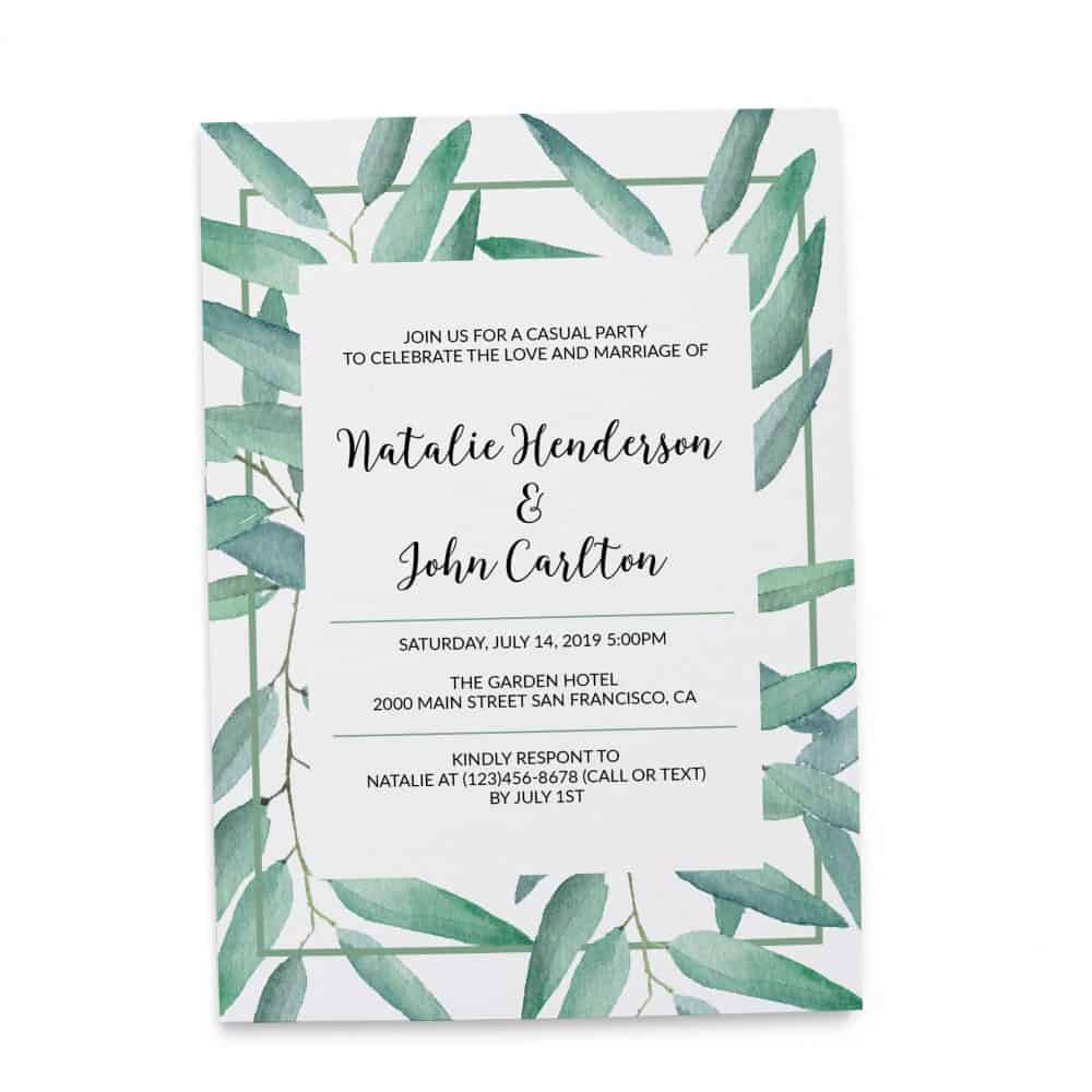 Fresh Green Branches, Elopement Reception Party Invitations, Casual Wedding Reception Cards, Printed Printable Wedding Party Card elopement251