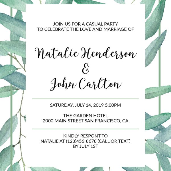 Fresh Green Branches, Elopement Reception Party Invitations, Casual Wedding Reception Cards, Printed Printable Wedding Party Card