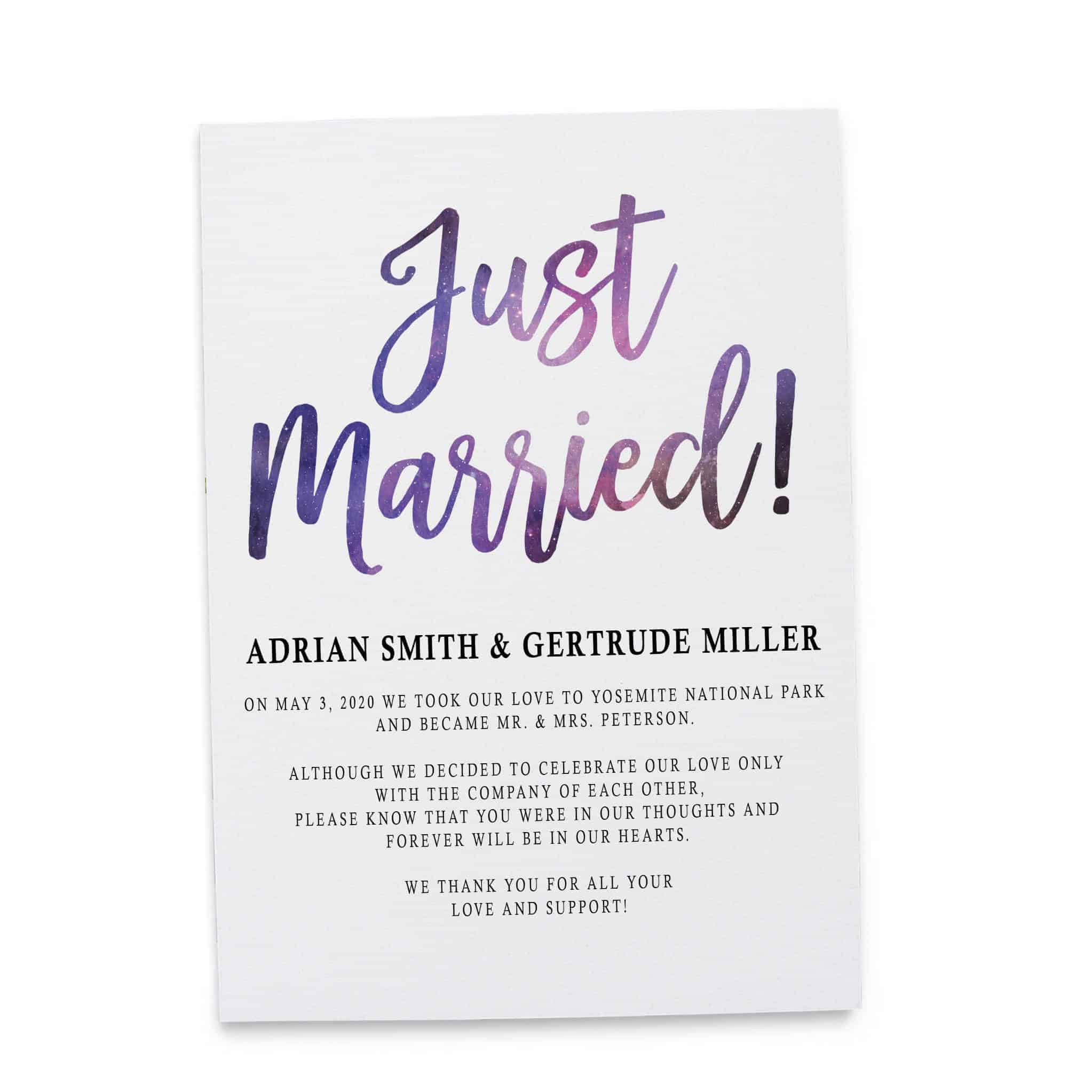 Just Married!, Elopement Reception Party Invitations, Casual Wedding Reception Cards, Printed Printable Wedding Party Card