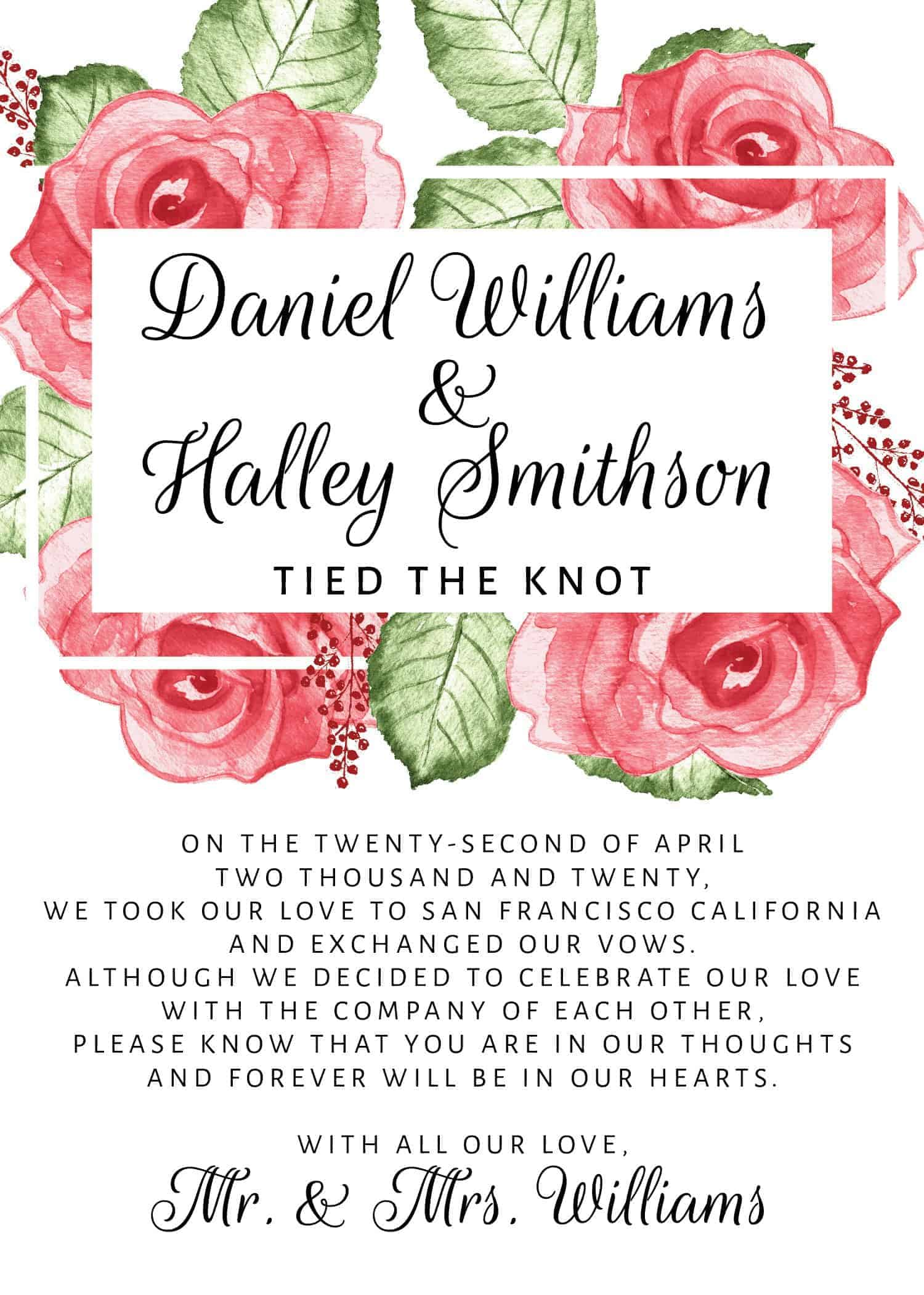 Tied the Knot!, Elopement Reception Party Invitations, Casual Wedding Reception Cards, Printed Printable Wedding Party Card