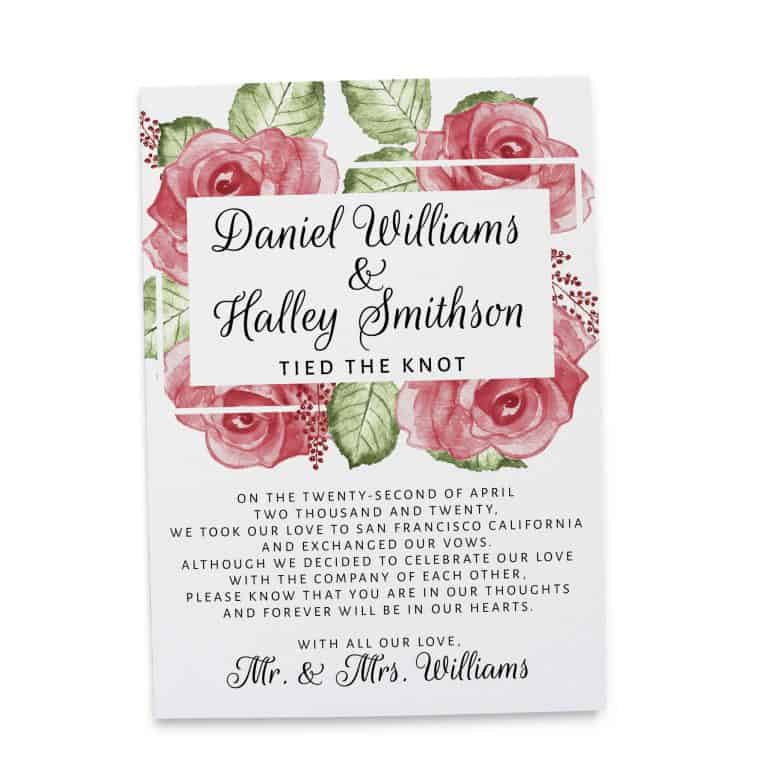 Tied the Knot!, Elopement Reception Party Invitations, Casual Wedding Reception Cards, Printed Printable Wedding Party Card elopement256