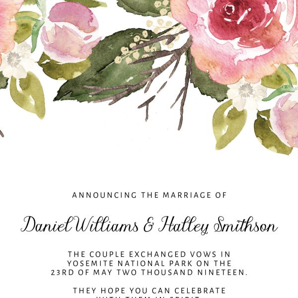 Announcing the Marriage, Elopement Announcement Flat Cards, Casual Wedding Announcement Cards, Printed& Printable Card