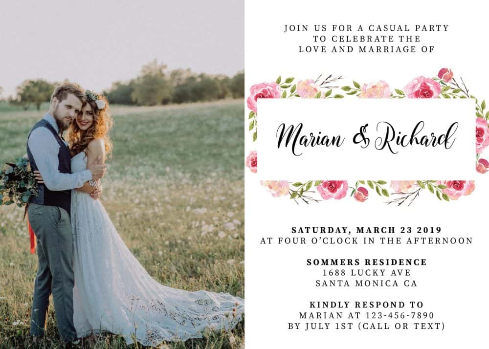 Classy, Floral with Photo, Elopement Reception Party Invitations, Casual Wedding Reception Cards, Printed Printable Wedding Party Card elopement260