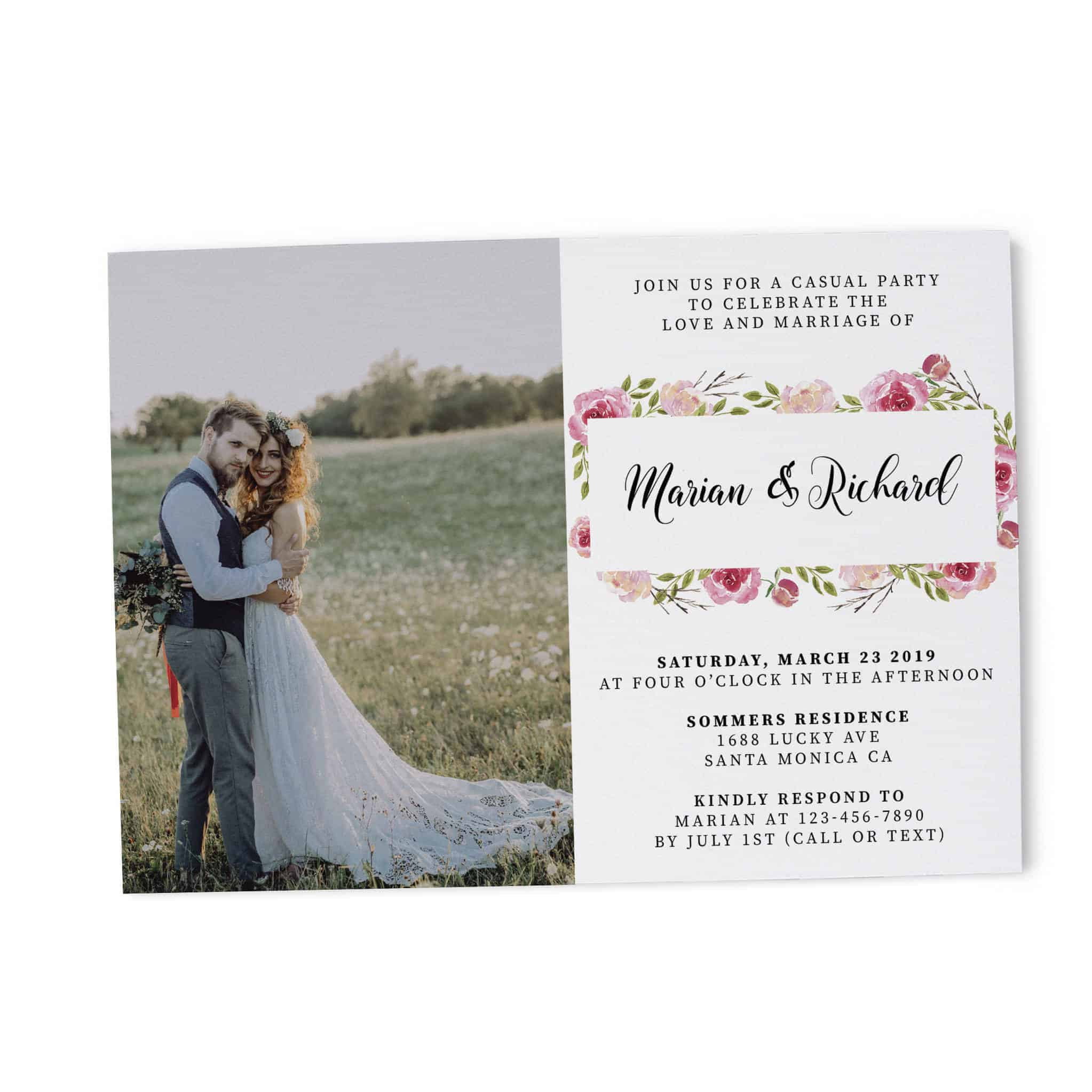 Classy, Floral with Photo, Elopement Reception Party Invitations, Casual Wedding Reception Cards, Printed Printable Wedding Party Card