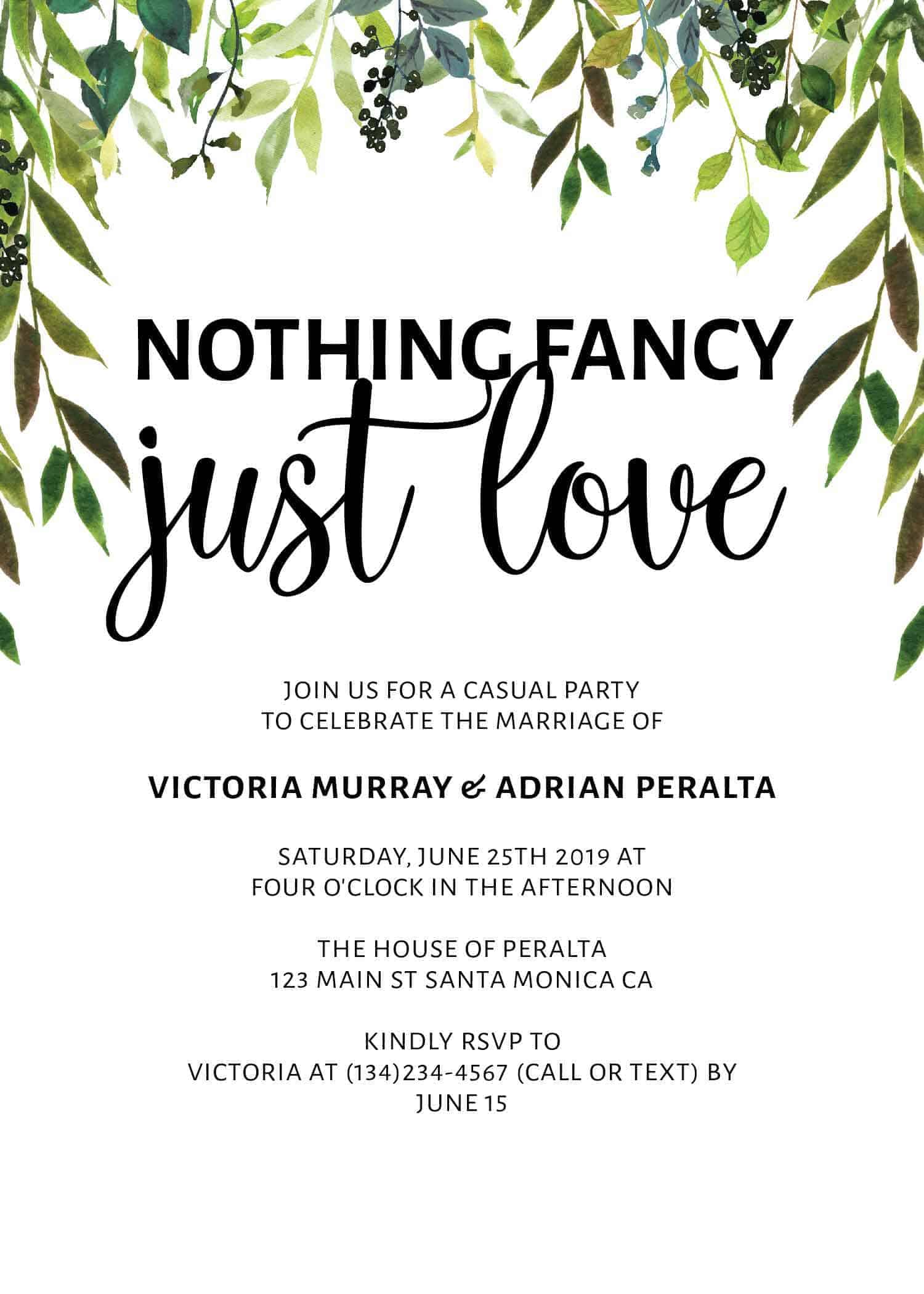 Nothing Fancy Just Love, Elopement Announcement, Casual Wedding Announcement Cards, Printed Printable Wedding Flat Card elopement261