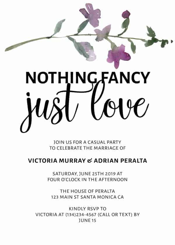 Nothing Fancy Just Love, Elopement Announcement, Casual Wedding Announcement Cards, Printed Printable Wedding Flat Card