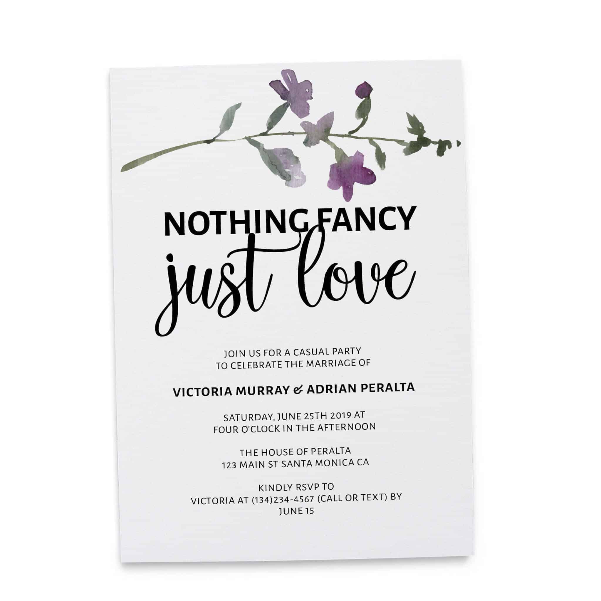 Nothing Fancy Just Love, Elopement Announcement, Casual Wedding Announcement Cards, Printed Printable Wedding Flat Card elopement262