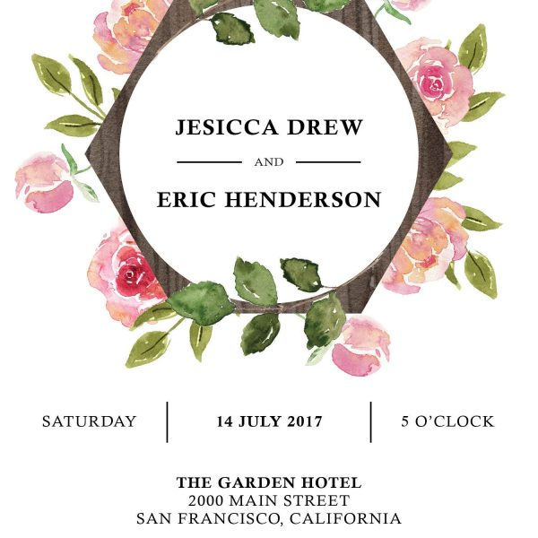 Floral Aquarelle Elopement Reception Party Invitations, Casual Elopement Wedding Reception Cards, Wedding Party Flat Card