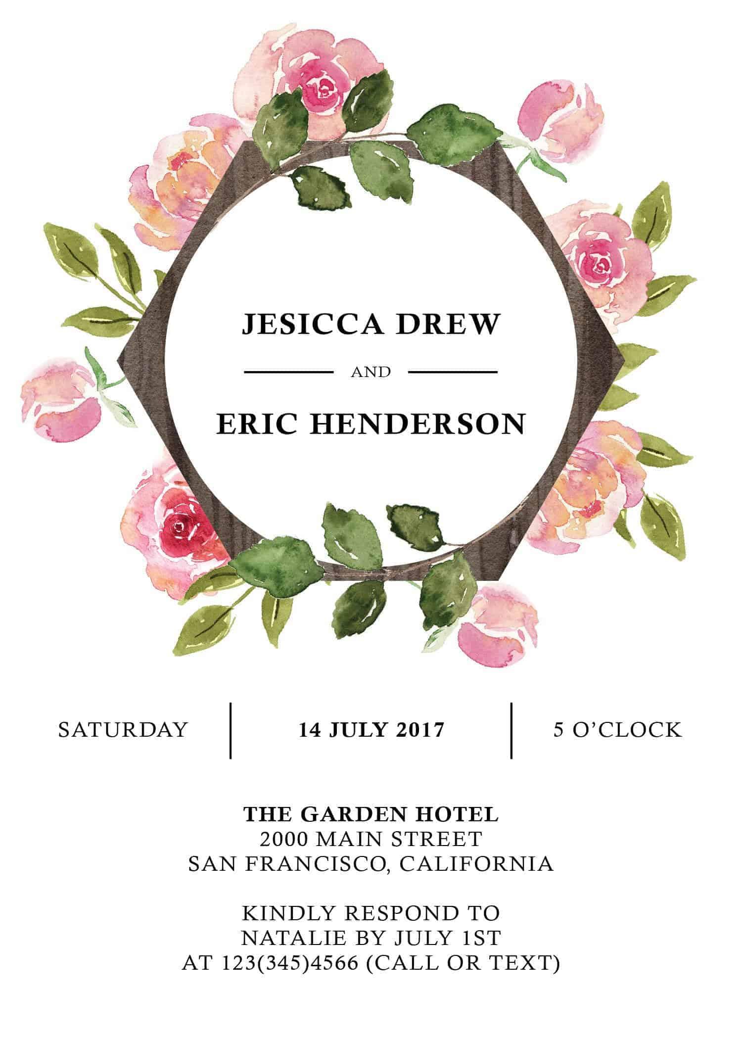 Floral Aquarelle Elopement Reception Party Invitations, Casual Elopement Wedding Reception Cards, Wedding Party Flat Card elopement264