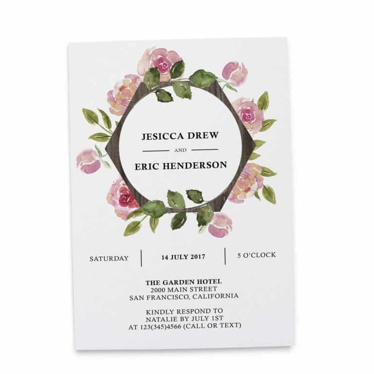 Floral Aquarelle Elopement Reception Party Invitations, Casual Elopement Wedding Reception Cards, Wedding Party Flat Card elopement264
