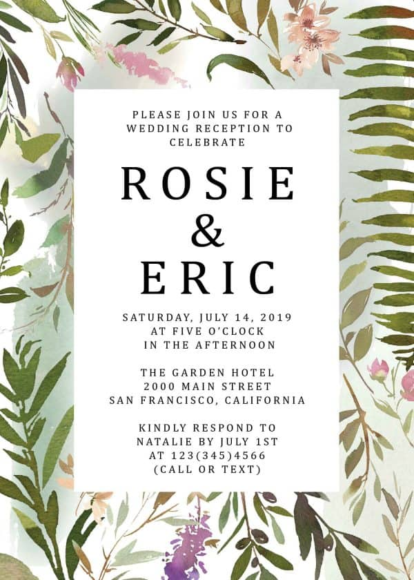 Exotic Meadow Elopement Reception Party Invitations, Fancy Elopement Wedding Reception Cards, Printed and Printable Wedding Party Card