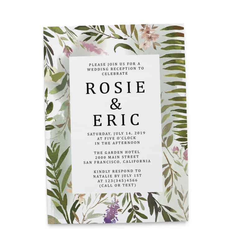 Exotic Meadow Elopement Reception Party Invitations, Fancy Elopement Wedding Reception Cards, Printed and Printable Wedding Party Card elopement265