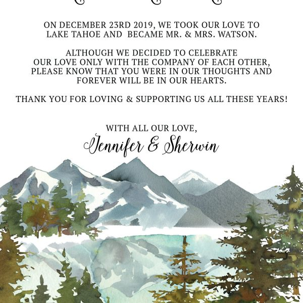 Elopement Announcement Cards, Wedding Announcement Cards, Printed and Printable Elopement Announcement Cards - Winter Mountain Design